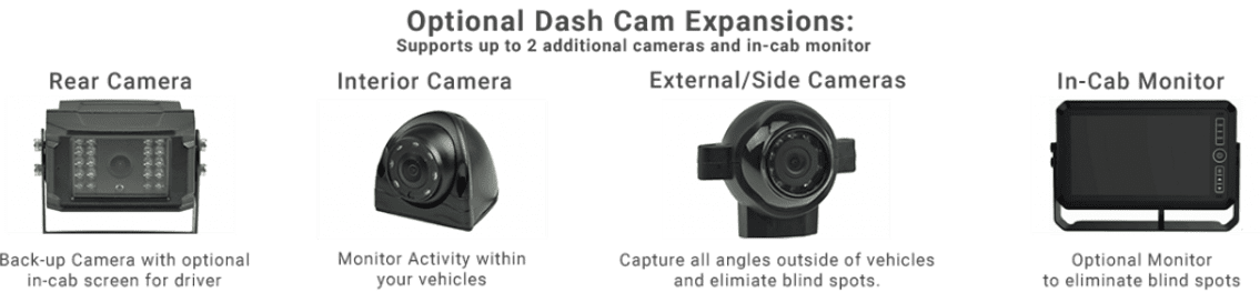 dashcam interior exterior rear truck dashcams